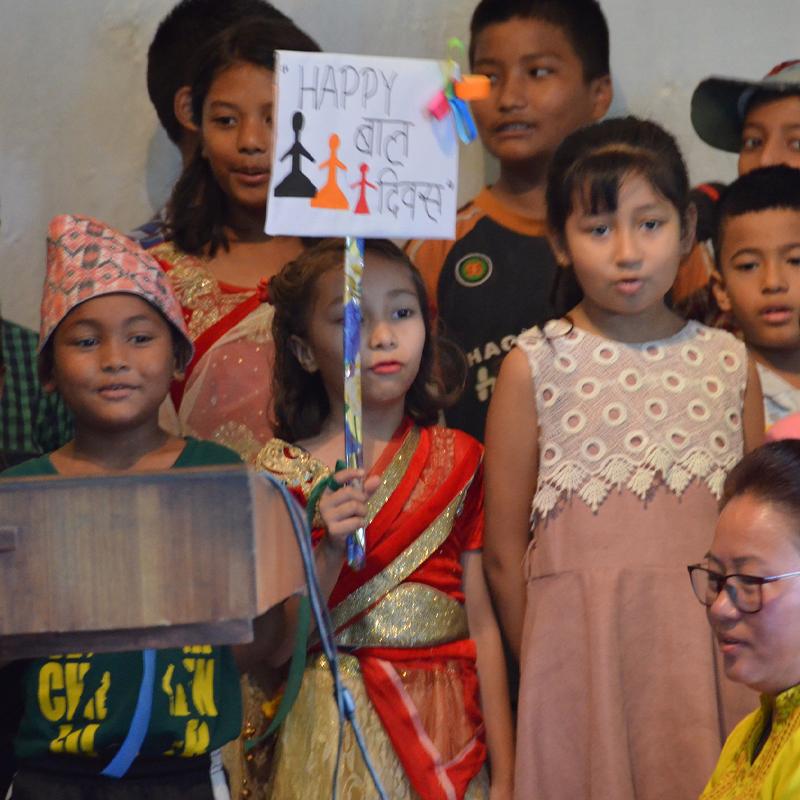 children in Nepal singing